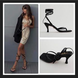 Zara Square Toe High Heel Leather Sandals